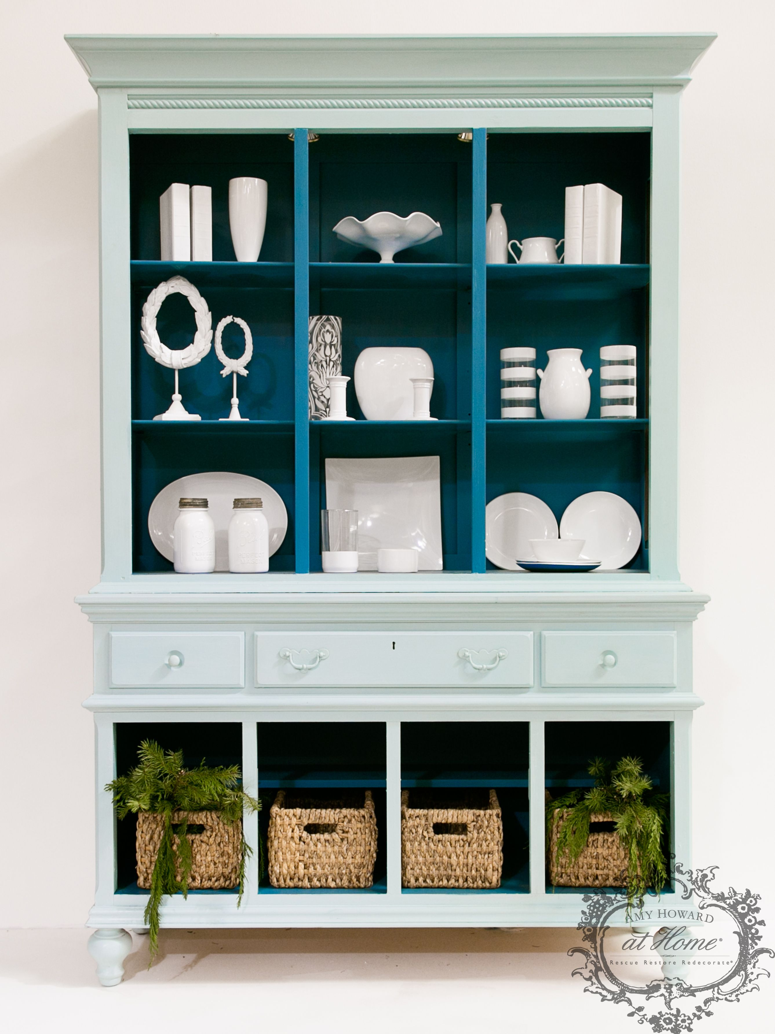 His China Cabinet Was A Craigslist Find I Took Off The Doors And Painted The Inside In Rugo One S Furniture Finishes Diy Furniture Hacks Refurbished Furniture