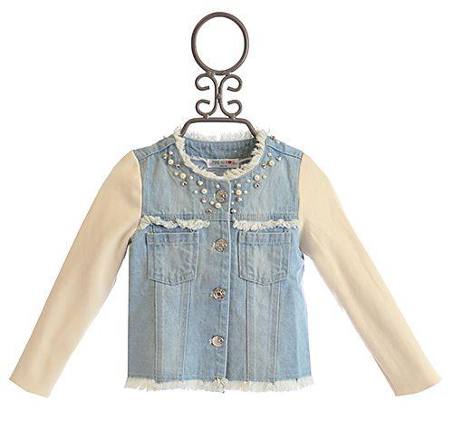 Mae Li Rose Girls Denim Jacket Fancy Pearls Girls Denim Jacket 257d1f26a3