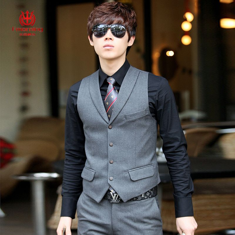 mens clothing business casual vest suit vest male spring and autumn male slim wedding dress small