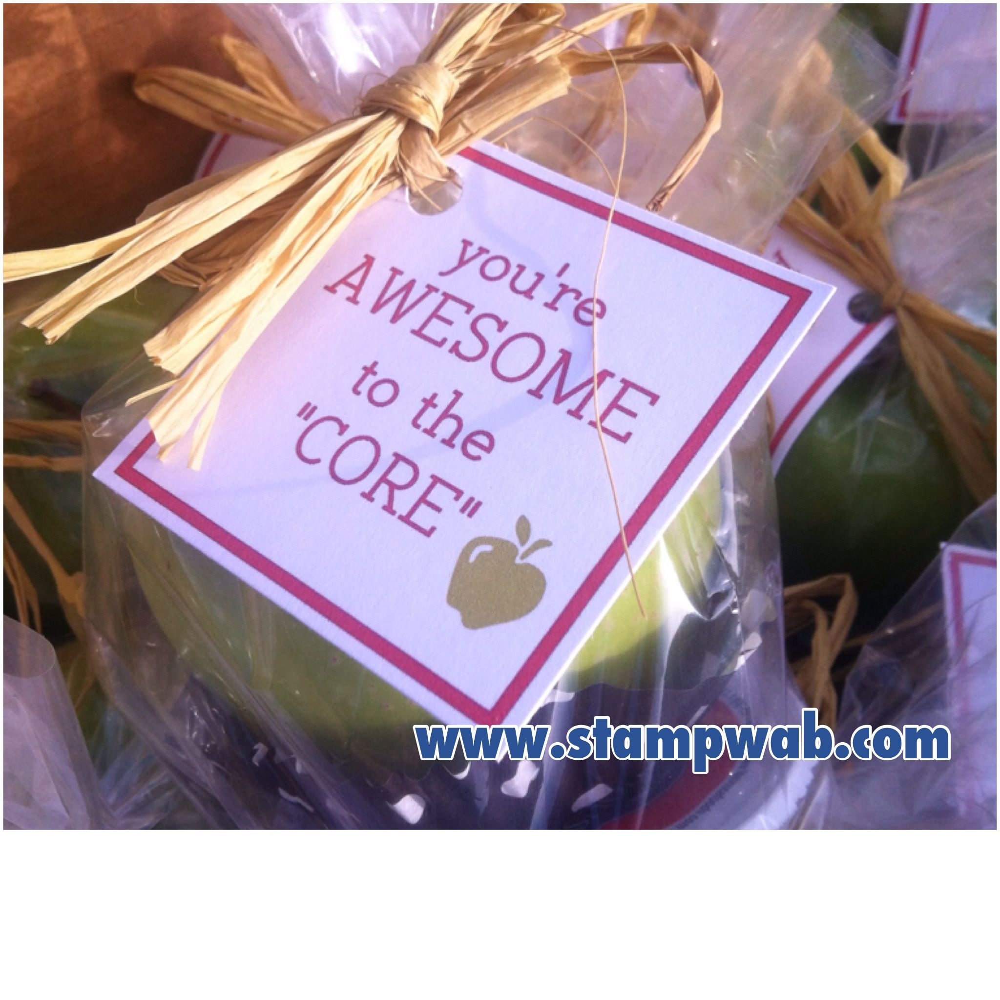 Teacher Appreciation Week! I made the tags for apples & a small container of caramel, for all out teachers & staff   www.stampwab.com #employeeappreciationideas