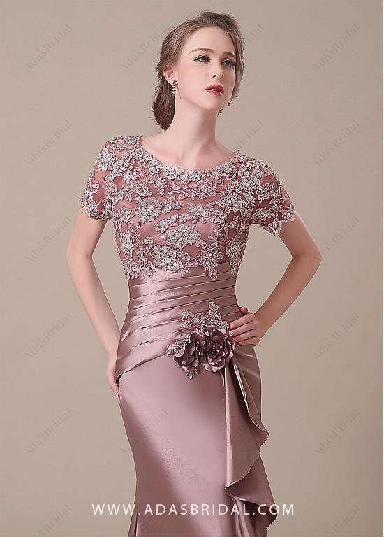 421d5fad38 comprar Elegante satén del estiramiento Scoop escote de encaje sirena Madre  de los vestidos de novia de descuento en Dressilyme.com