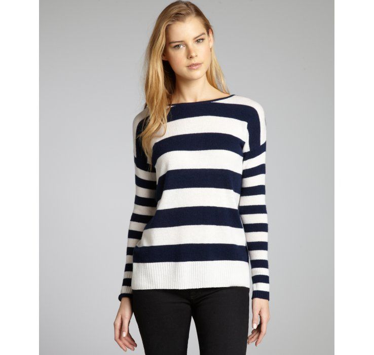 Hayden navy and ivory striped cashmere boatneck sweater