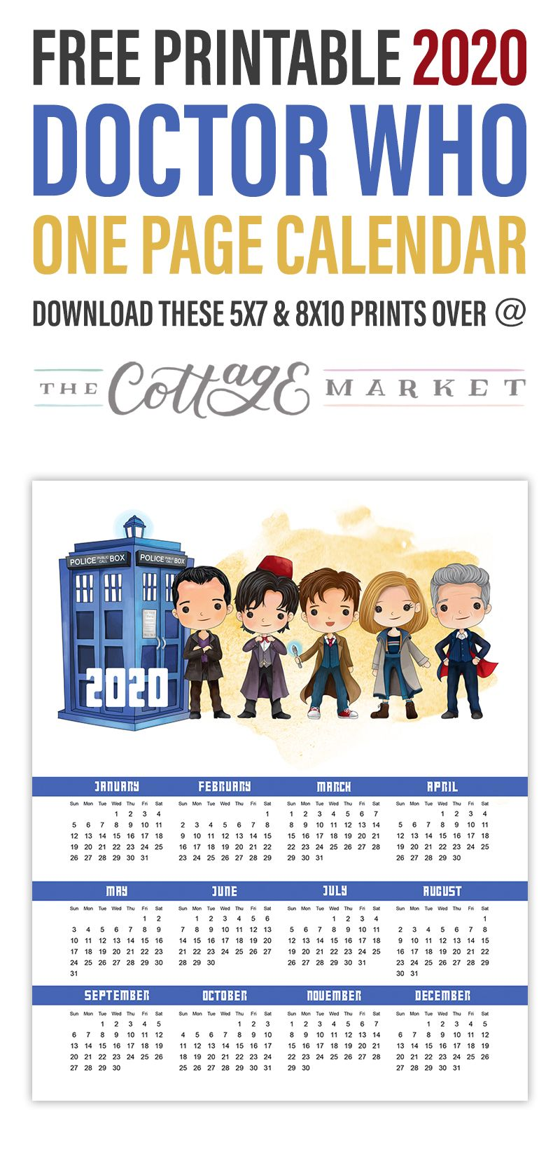 Free Printable 2020 Doctor Who One Page Calendar The Cottage Market Free Printables Doctor Who Printable Doctor Who
