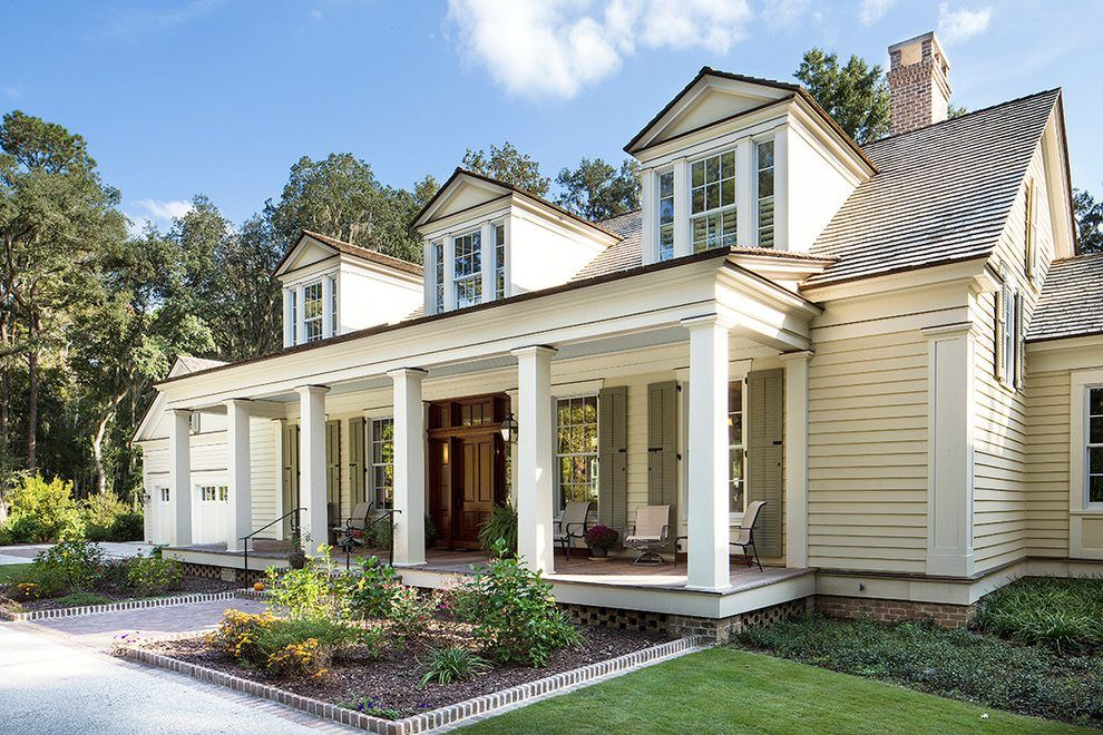 Yellow House Shutters Exterior Farmhouse With Brick Foundation Brick Foundation Front Porch Shutters Exterior House Shutters Modern Farmhouse Exterior