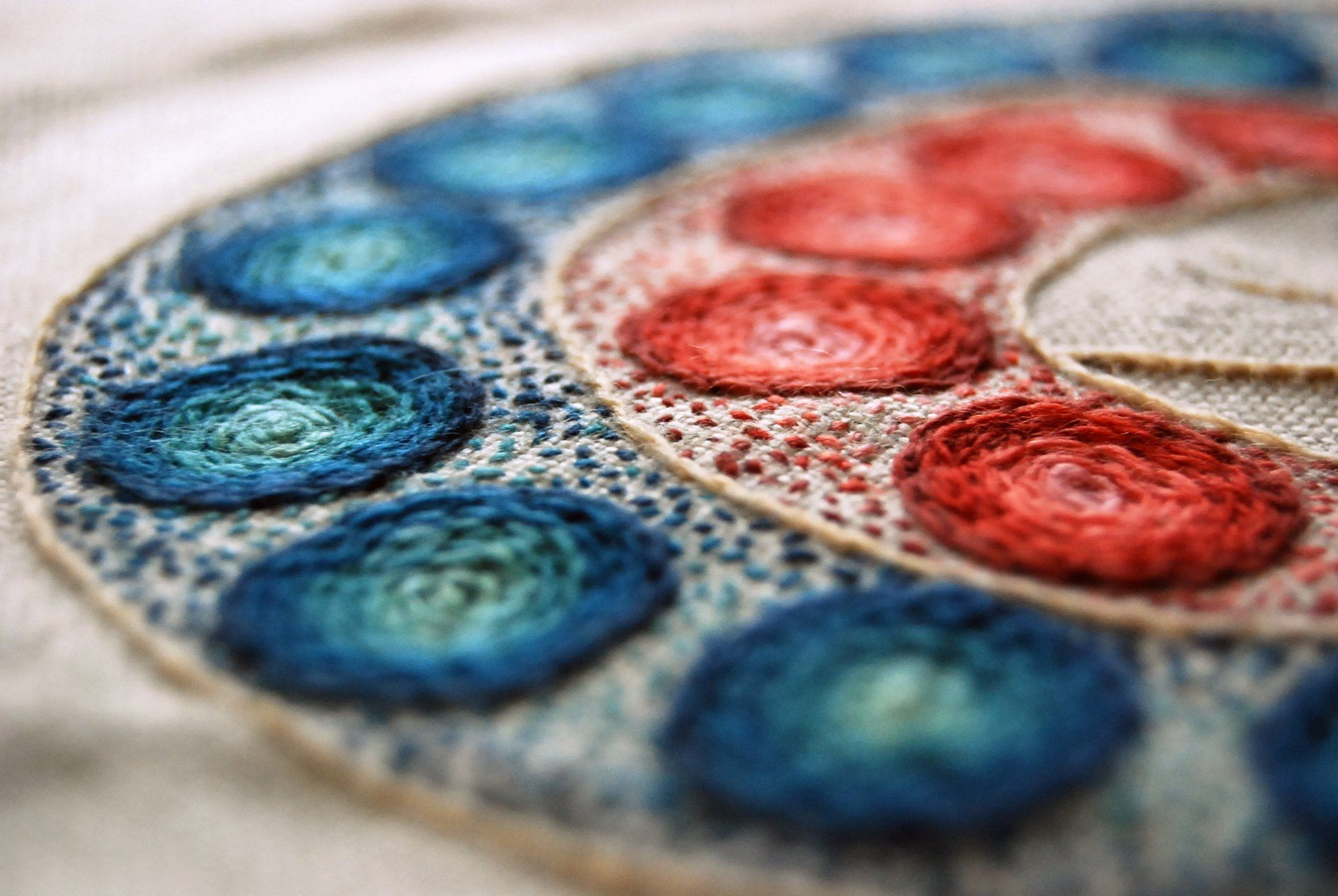 """A """"lollipop bouquet"""" in crewelwork inspired by Magdalena Briner Eby's hooked rug."""