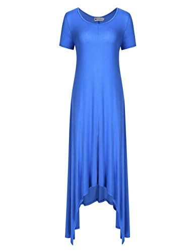 5086c0007d VeryAnn Women Long Sundresses Casual Short Sleeve Irregular Hem Maxi Dress