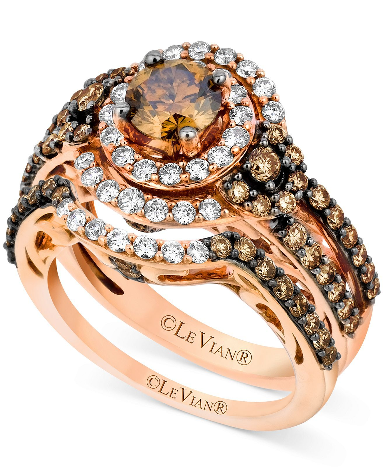 le vian wedding bands Shop for Le Vian Bridal Set Chocolate Diamond ct and White Diamond ct Ring Set in Rose Gold by LeVian at ShopStyle
