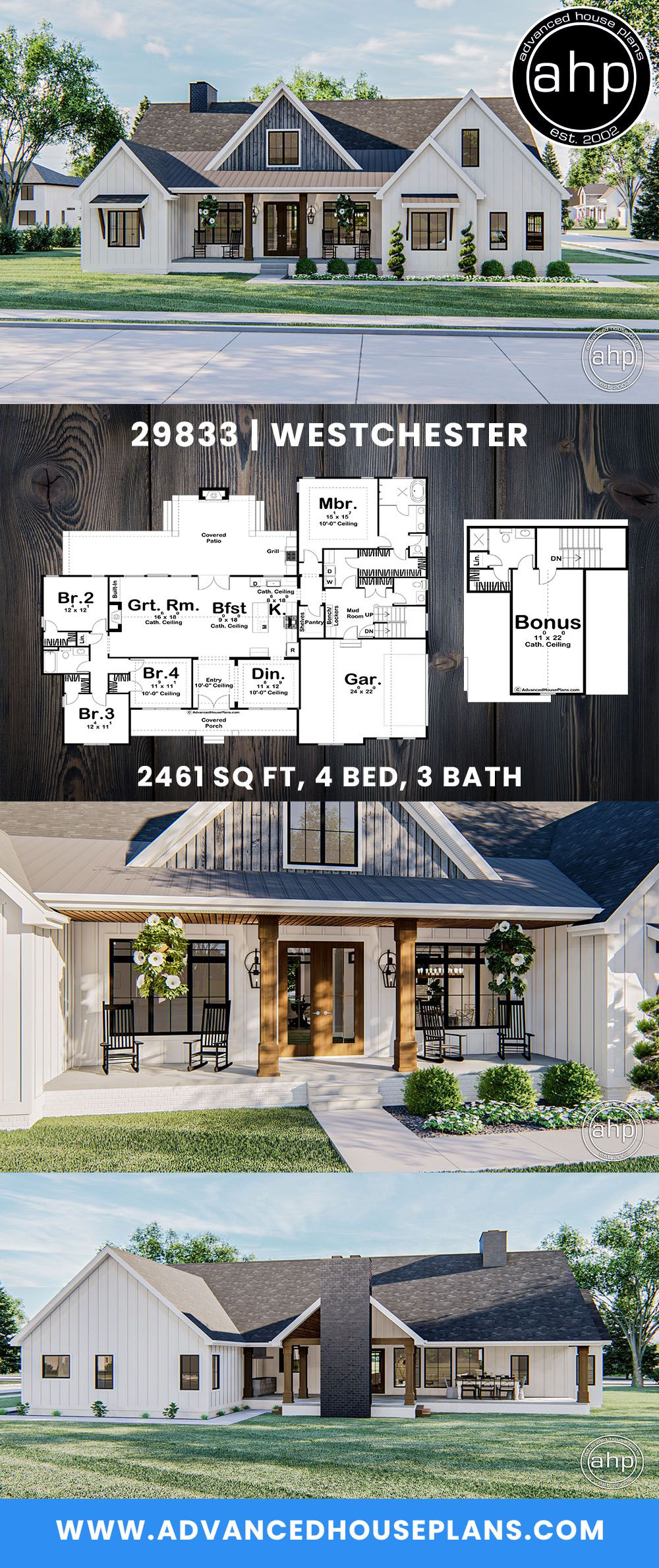 1 Story Modern Farmhouse Style Plan Westchester In 2020 Farmhouse Style House Plans House Plans Farmhouse Farmhouse Style House