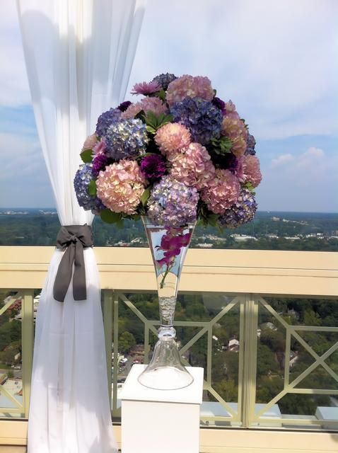 Large Arrangement Featuring Hydrangeas, orchids and football mums