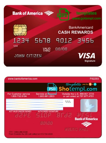 Usa Bank Of America Visa Card Template In Psd Format Fully Editable Shotempl In 2020 Bank Of America Card Template Visa Card