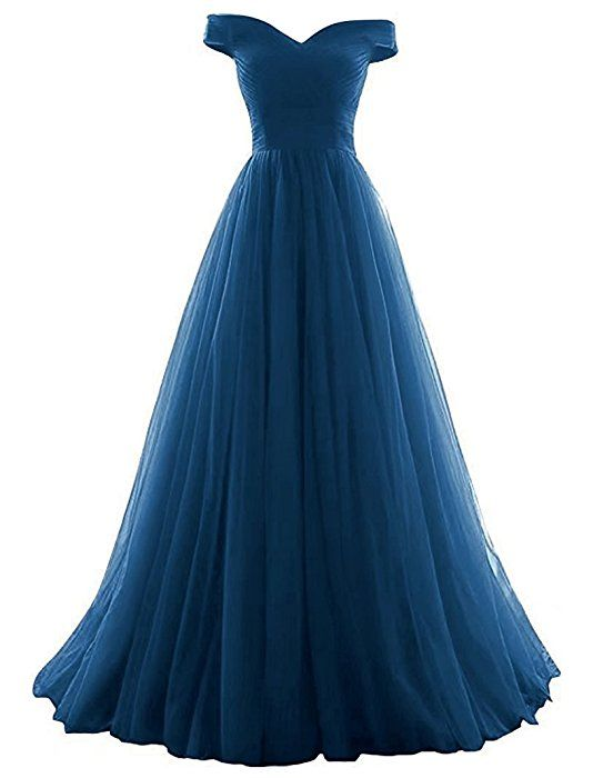 Vickyben Damen langes Ab-Schulter Tuell Prinzessin Kleid Abendkleid ...
