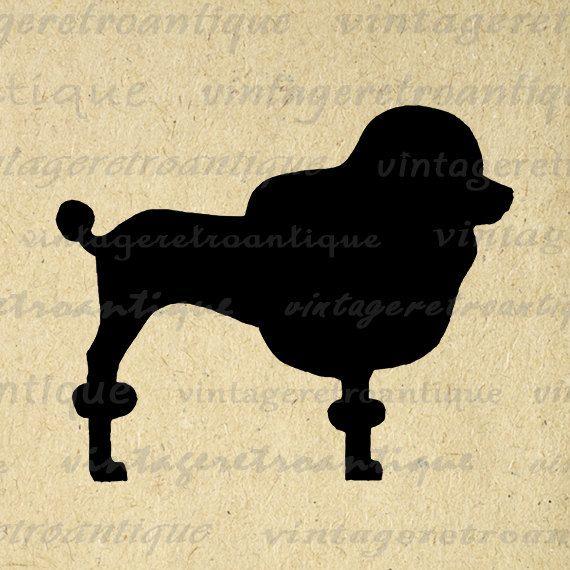 Poodle Dog Silhouette Graphic Image Printable Digital Illustration ...