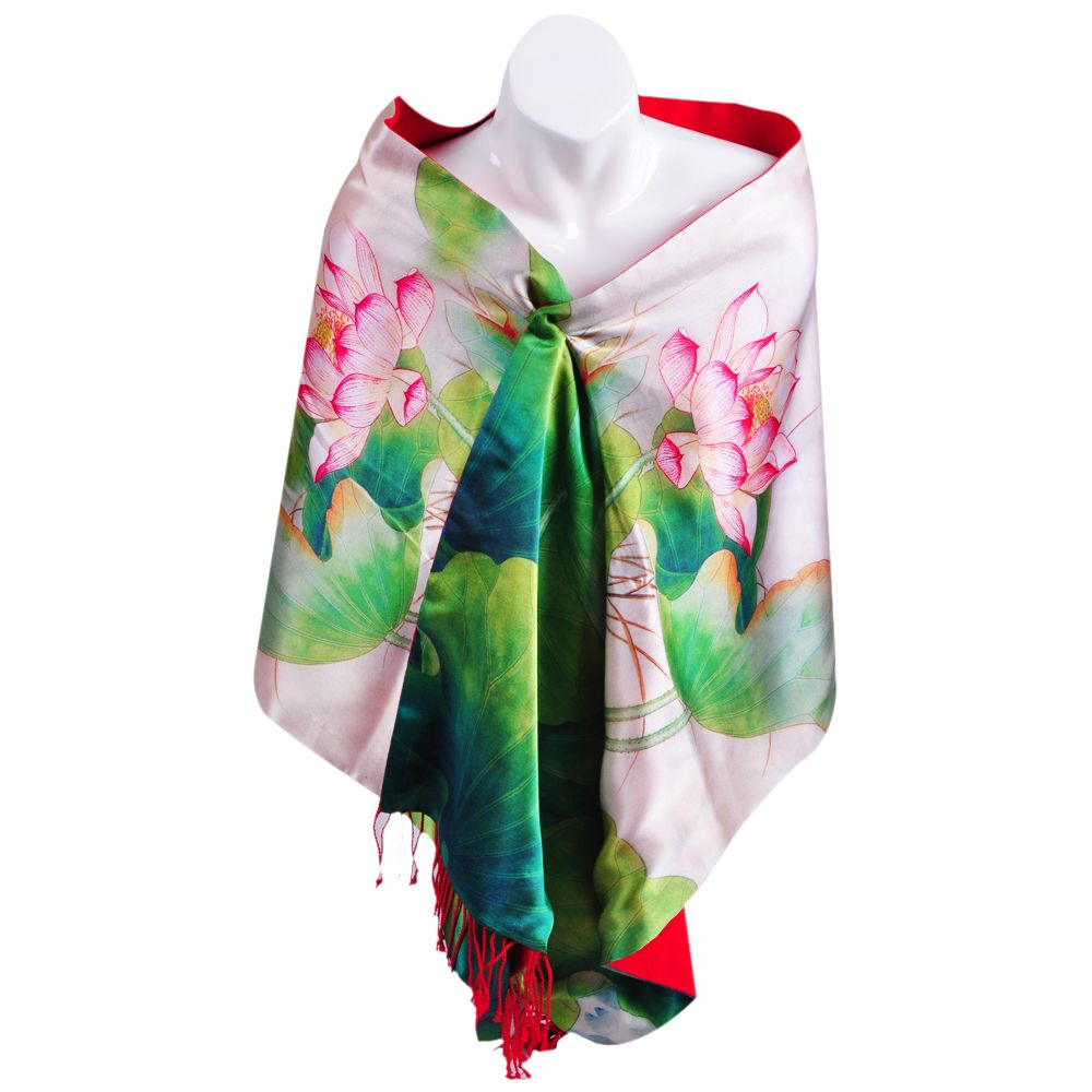 Ionlyou 100 Silk Double Layer Long Scarf Printing Lotus Tassels Edge With Custom Luxury Gift Box Red And Green Scarf Print Long Scarf Scarves Uk
