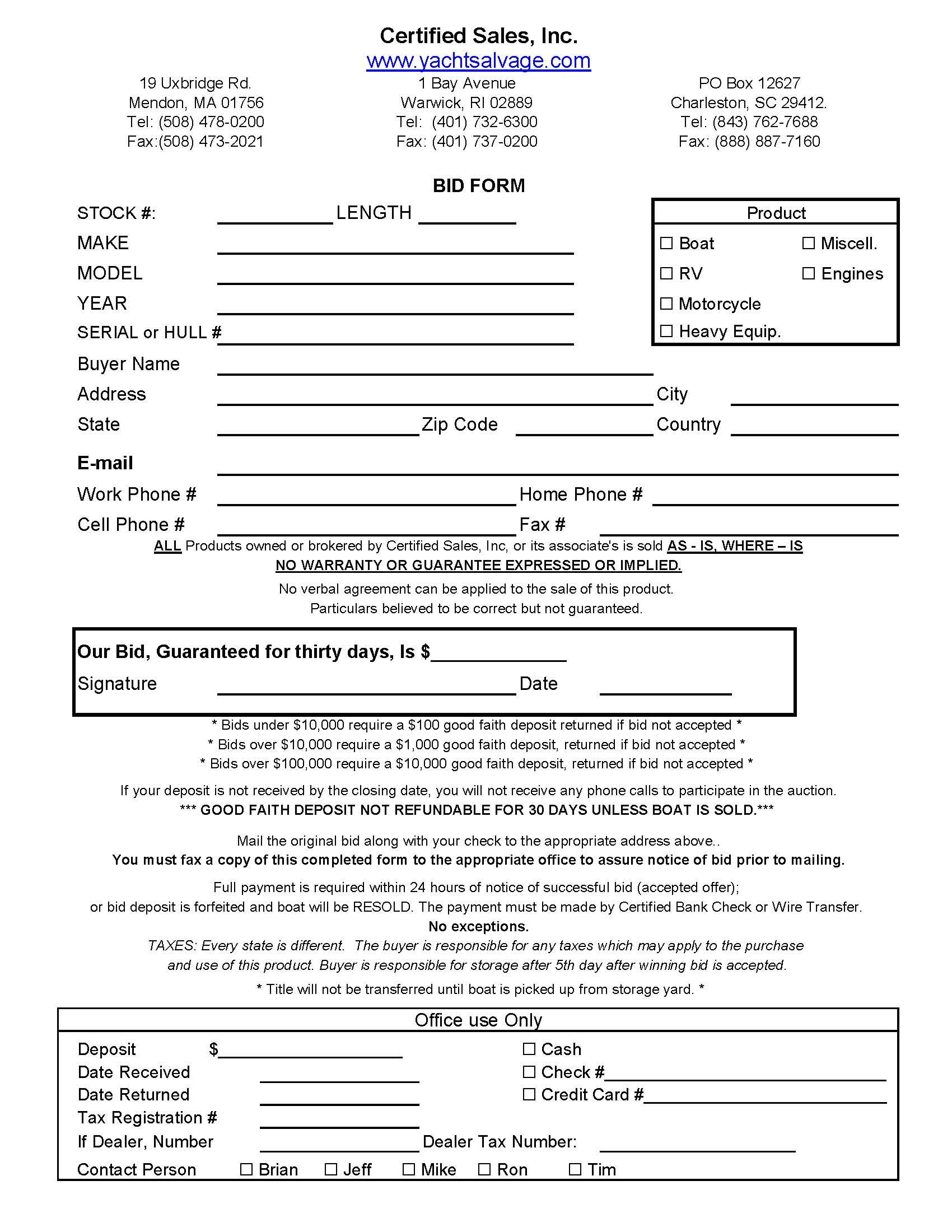 BidFormPageJpg  Bid Form  Legal Documents