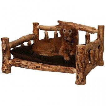 Aspen log dog bed log cabin decor pet bed after all for Aspen logs for decoration