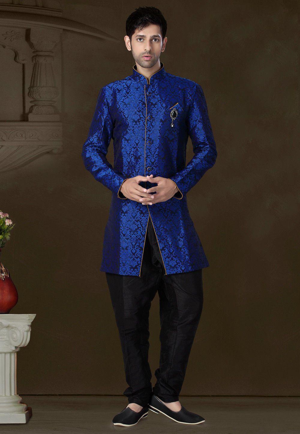 Buy brocade dark blue jodhpuri suit onlineitem code mcd