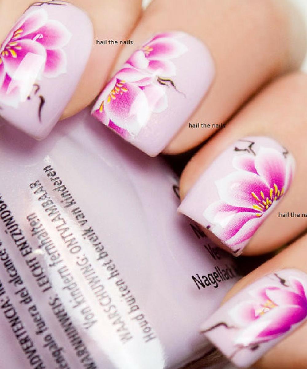 Pink Lotus Nail Art Decals #affiliate #nailart #naildecals | Nail ...
