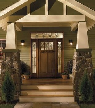 Craftsman ExteriorFront Door with Stained Beaded Glass Sidelights