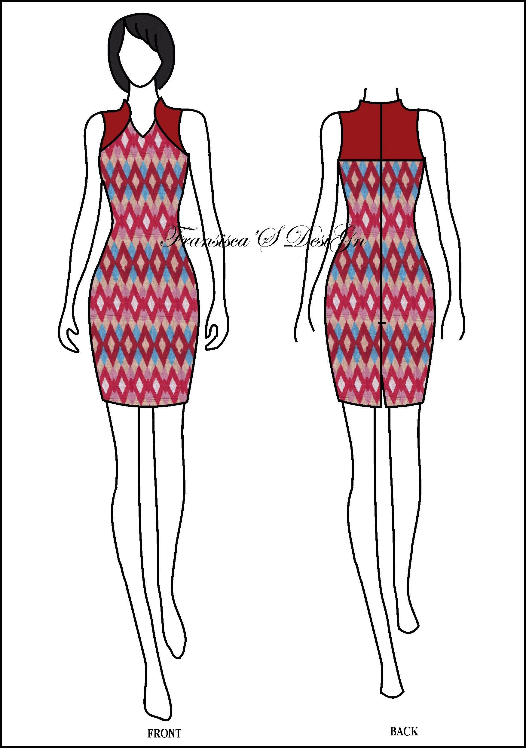 Cheongsam batik dress sketch  Pakaian wanita, Desain busana