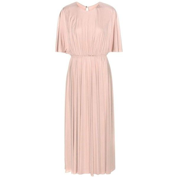Valentino Jersey Dress (€1.400) ❤ liked on Polyvore featuring dresses, vestidos, neutrals, pink jersey, pink jersey dress, jersey dress, nude dress and valentino dress