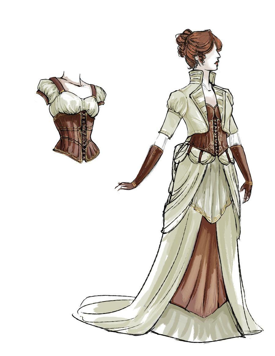 Steampunk wedding dresses  Pin Stripes By Lynnebruning Maquettes Steampunk Wedding Dress July