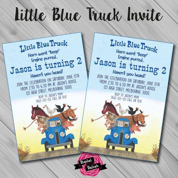 Little Blue Truck Invitation Digital File Printable Little Blue Trucks Trucks Birthday Party Race Car Birthday Party