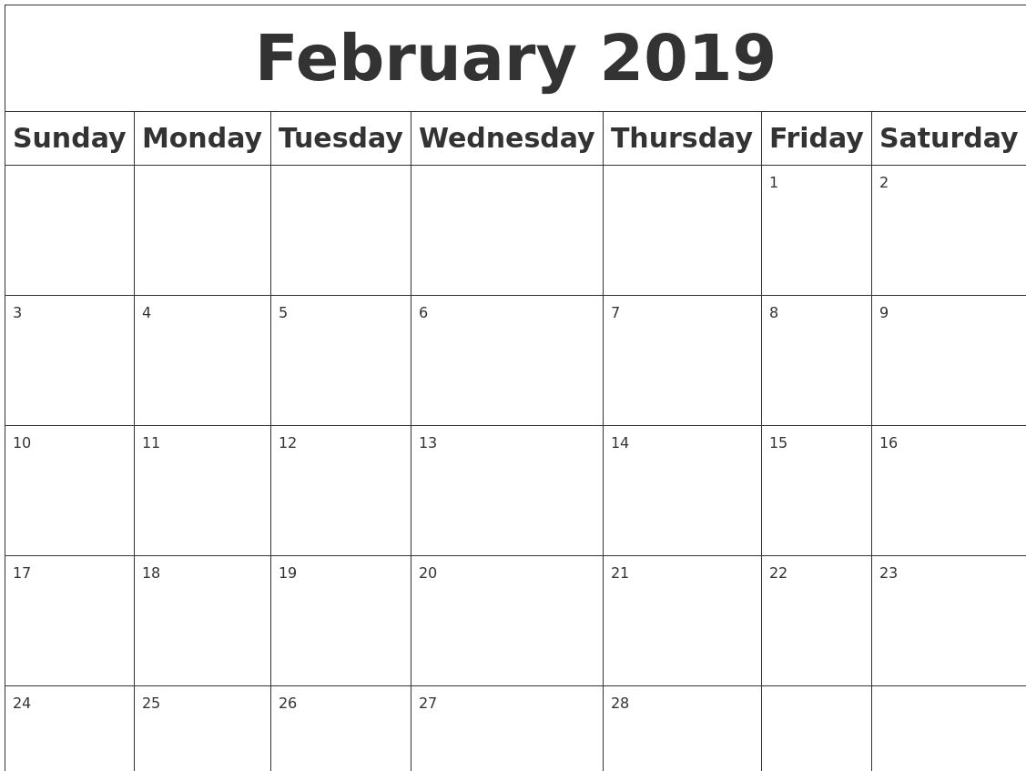 Printable Blank February 2019 Calendar free february 2019 calendar pdf excel word free calendar and