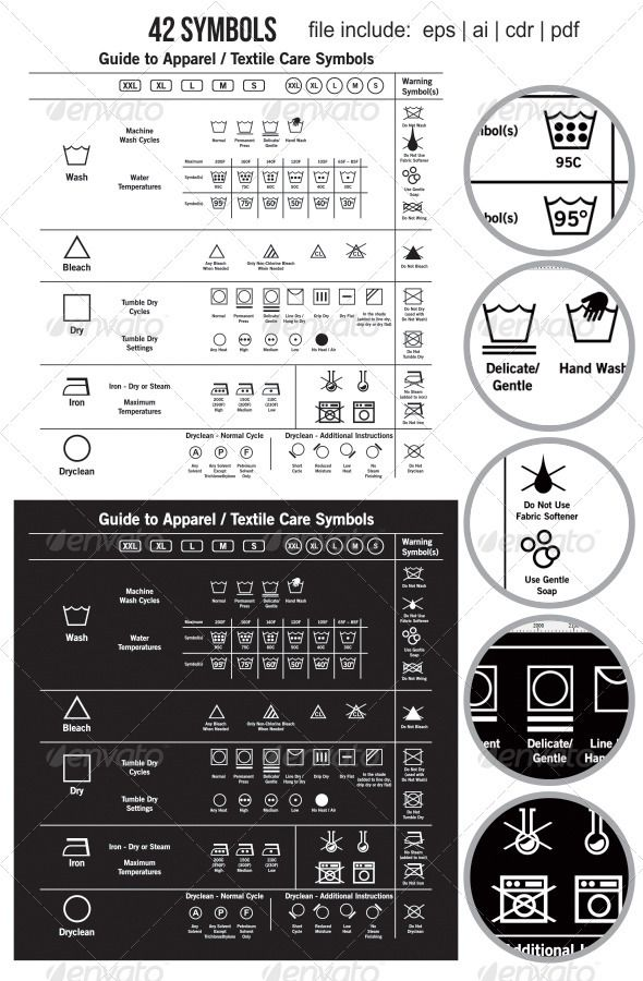 42 Textile Care Label Symbols GraphicRiver vector