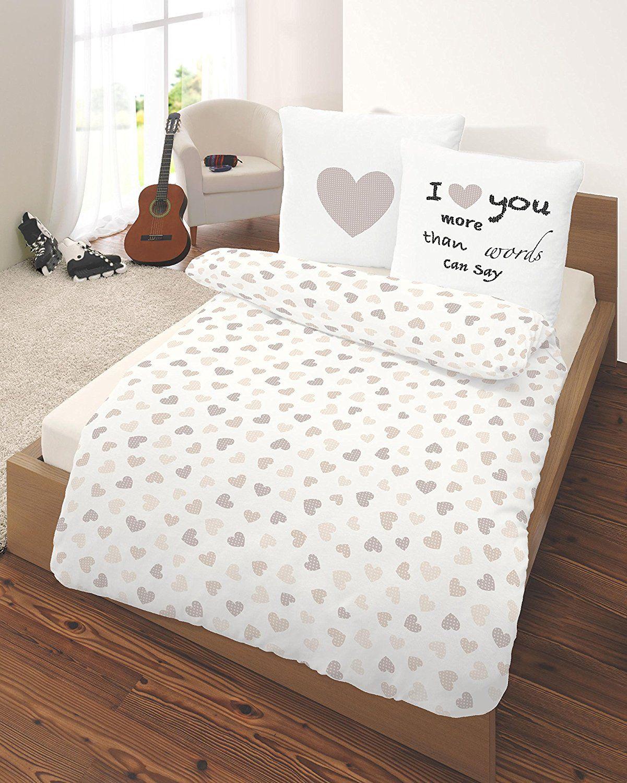 Fein Biber Bettwasche Herz I Love You In Beige Grosse 80x80