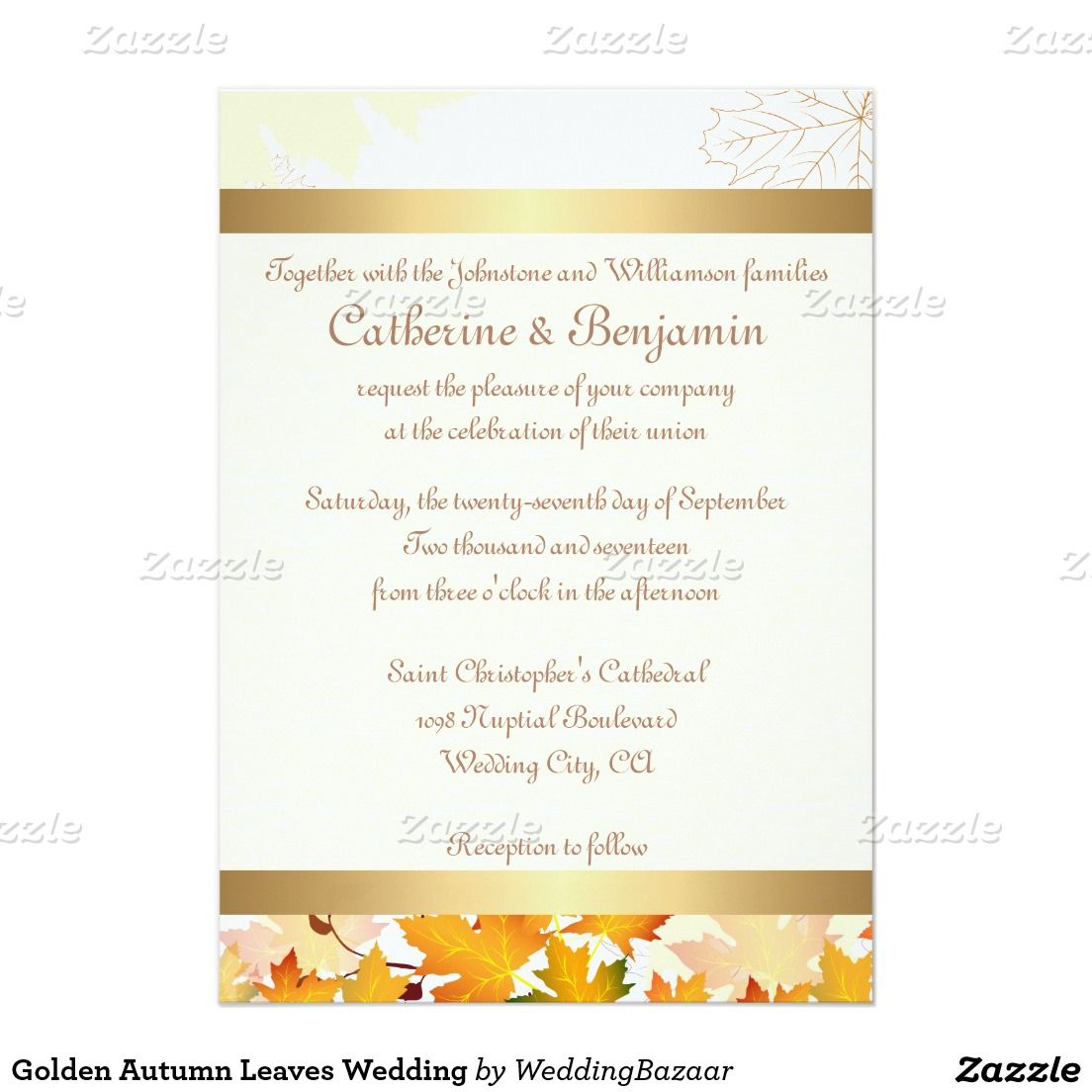 Golden Autumn Leaves Wedding Card Invitations Save The Dates