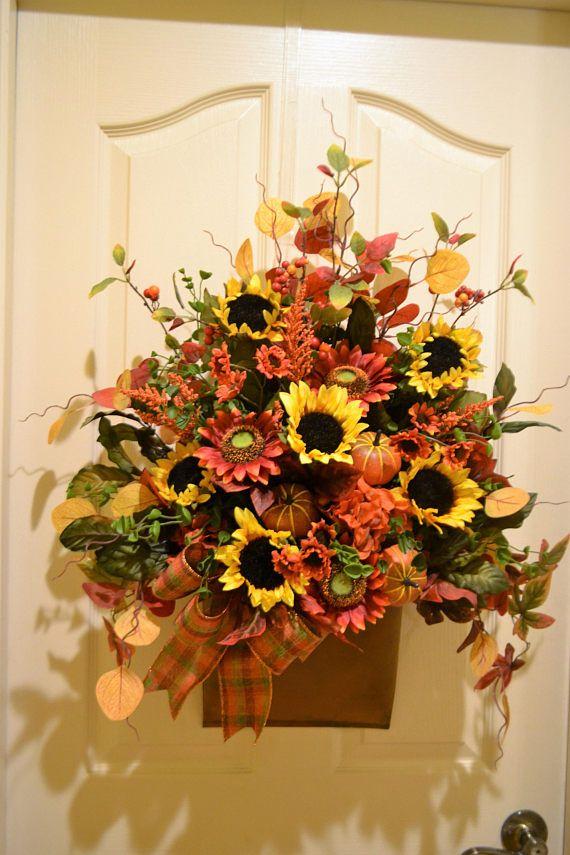 Sunflower and Pumpkin Door Pocket