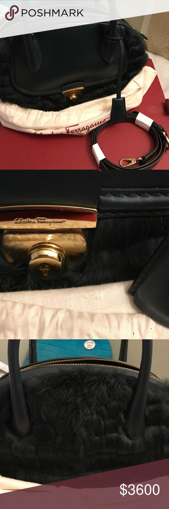 Salvatore Ferragamo Fiamma Bag Brand New Never used. 100% authentic. Comes  with original packaging. Real rabbit fur. Bought it from Ferragamo website. d388d5e68e096