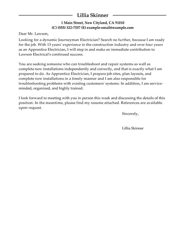 apprentice electrician cover letter