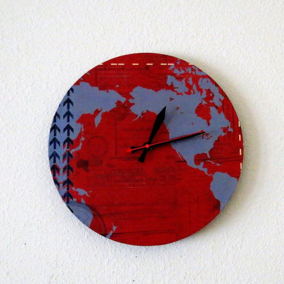 Unique Wall Clock, Home And Living, Map Decor, Decor