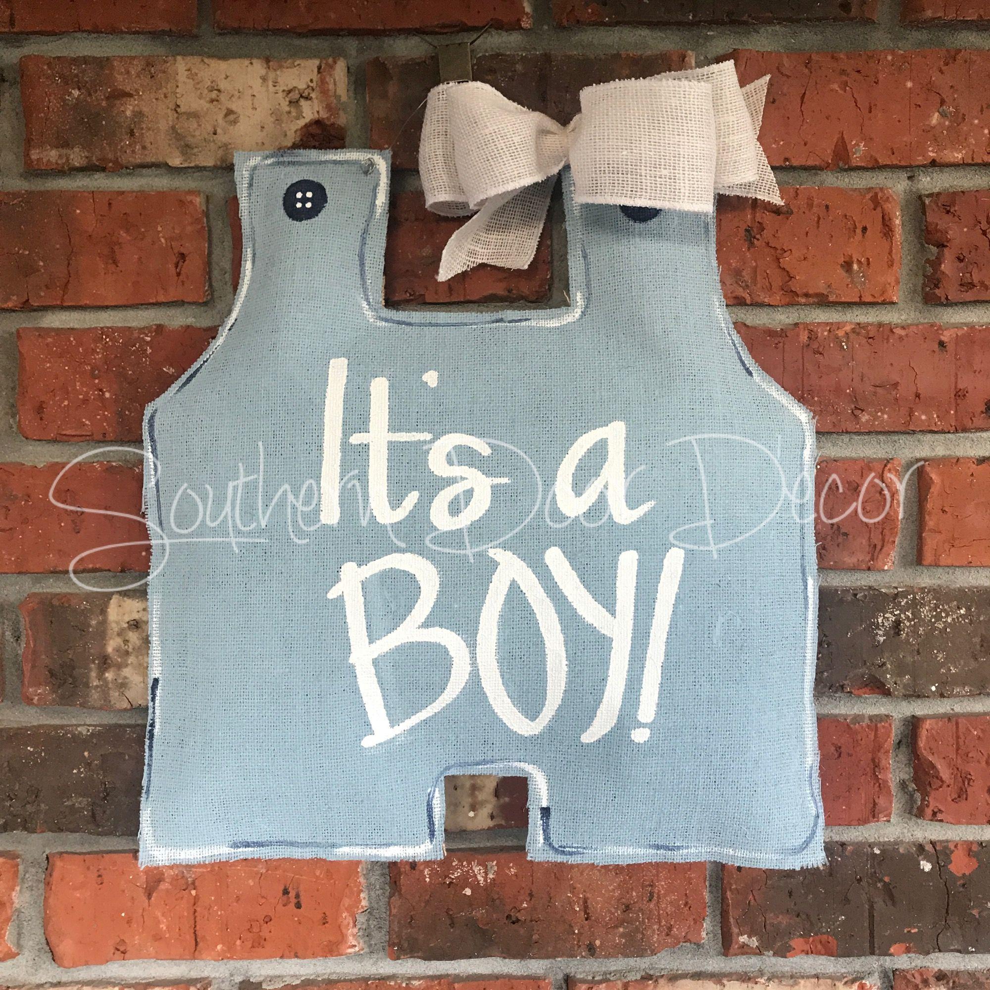 It S A Boy John John Door Hanger Website Door Hangers Recycled Plastic Bags Burlap Bows