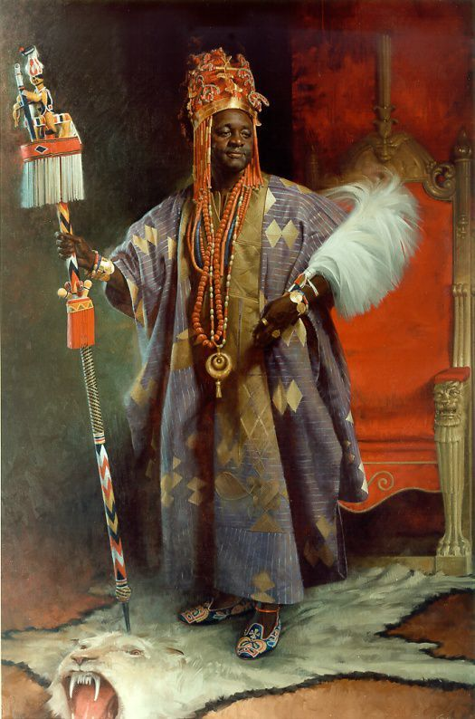 Africa | His Majesty The Alafin Of Oyo by John Howard Sanden. Painting (Oil on Canvas) || Lamidi Olayiwola Adeyemi III (born 15 October 1938) is the Alaafin, or traditional ruler, of the Yoruba state of Oyo.