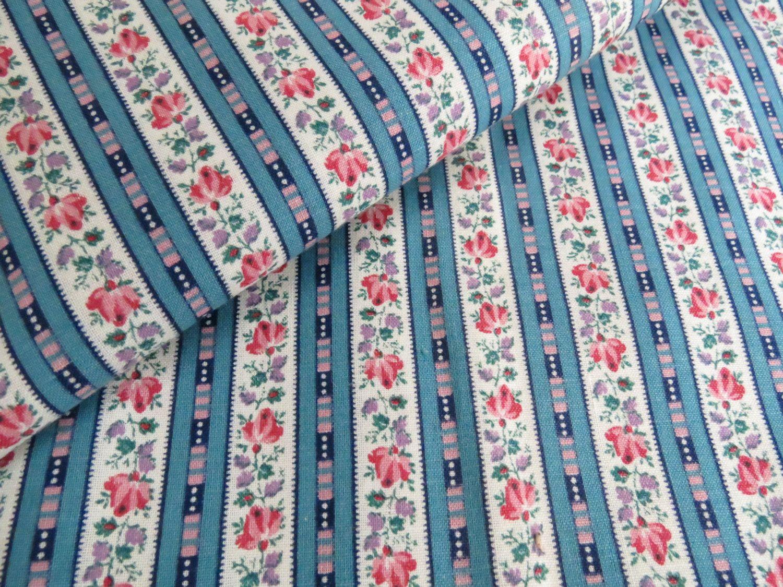 Vintage Tiny Print Floral Rose Wallpaper Stripe Fabric
