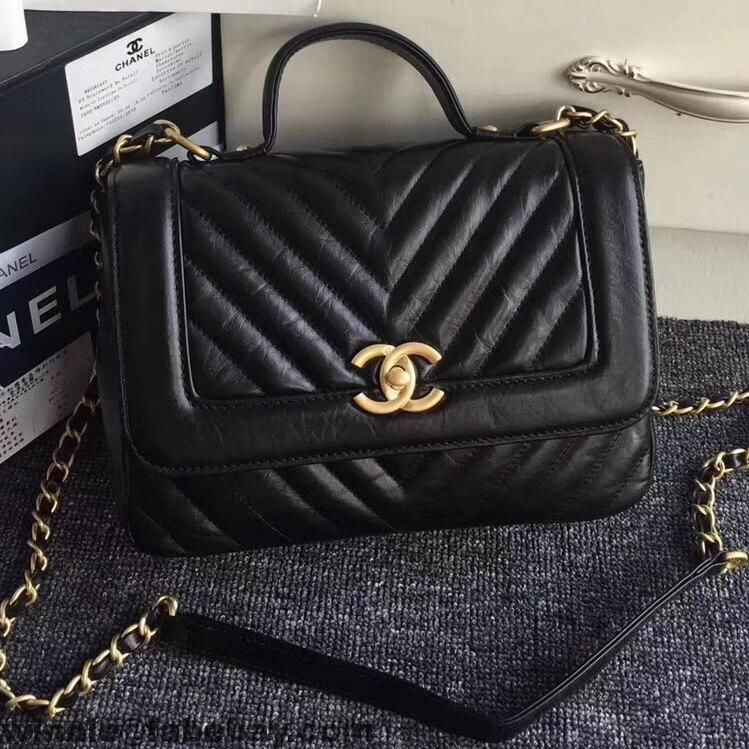 54f5fa218773 Chanel Crackled Chevron Calfskin Flap Bag With Top Handle A57213 2017
