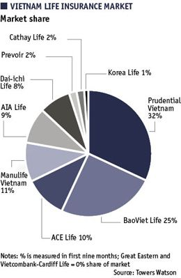 Pie Chart Showing Vietnam Life Insurance Market Market Share