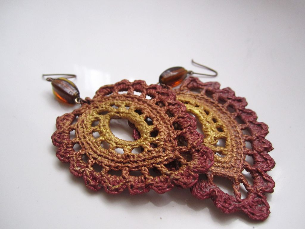 Crocheted earrings | Ganchillo, Pendientes y Tejido