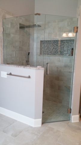 Jacksonville Bathroom Remodel (Tile: Emil Kotto Avana, Accent Mosaic:  Florida Tile Bliss