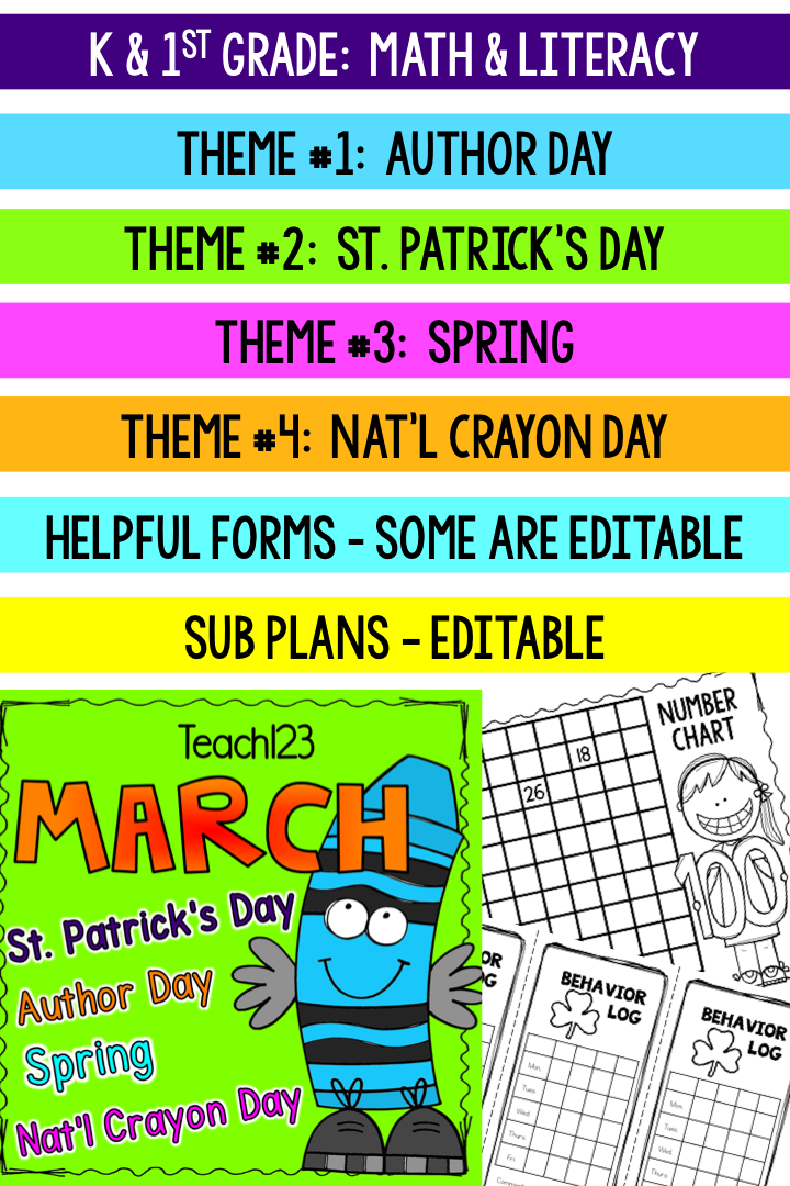 Sub Plans Kindergarten St Grade March  Newsletter Templates