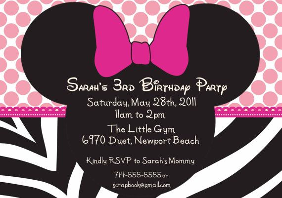 Minnie Mouse Birthday Party Invitation by ScrapbookStyle on Etsy, $14.00