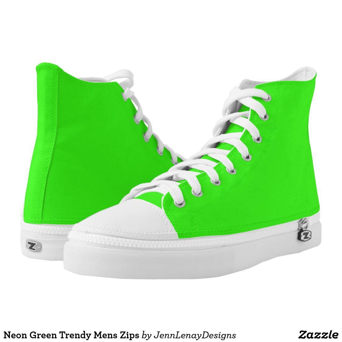 Neon Lime Green Trendy Mens Zips High