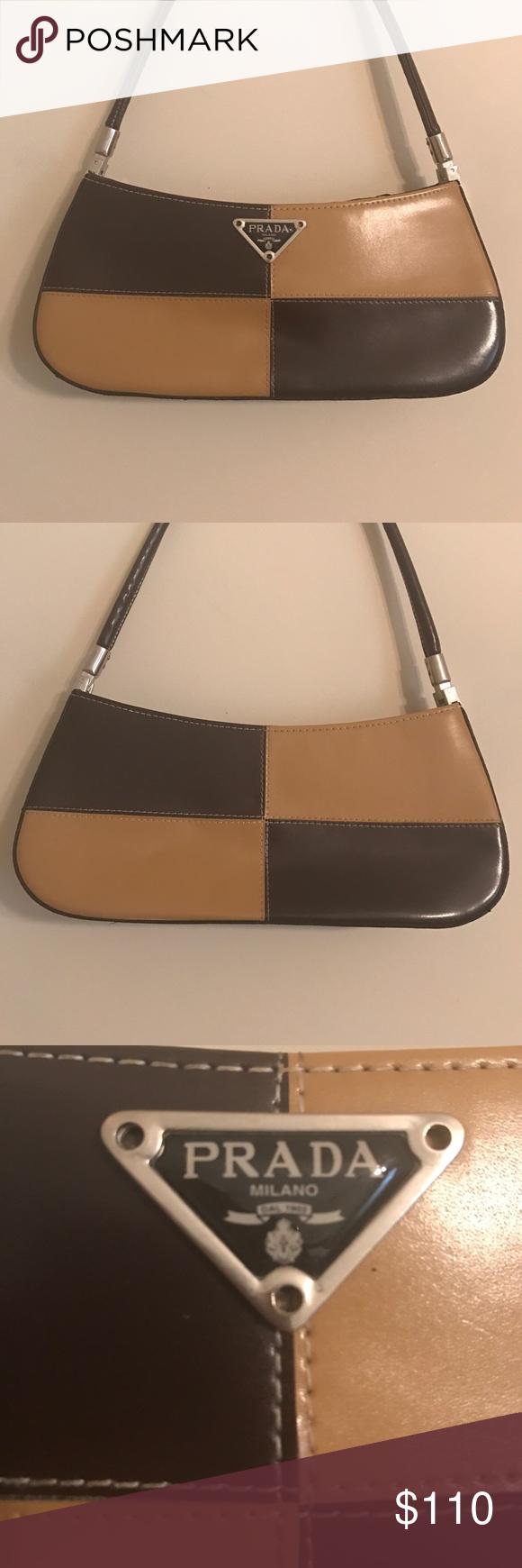 a17cf70f779f ... coupon vintage leather prada handbag brown and tan handbag shoulder bag  theres an prada milano a112d