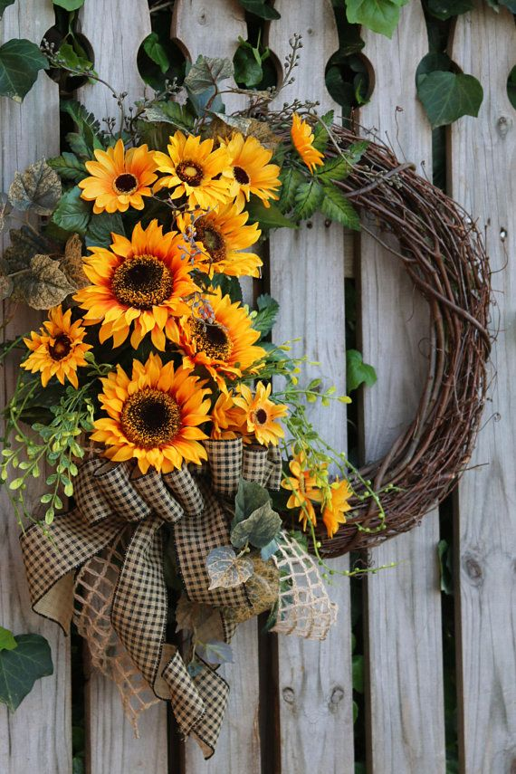 Farmhouse wreath for Front Door, Sunflower wreath, Rustic