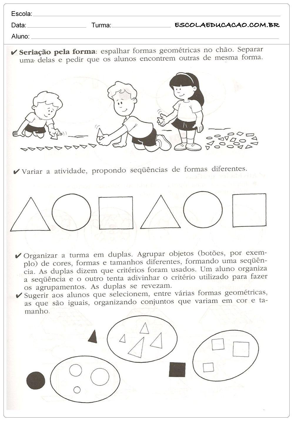 Atividades De Classificacao E Seriacao Com Imagens Atividades