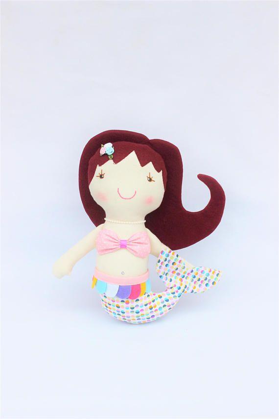 Muñeca de trapo sirena, muñeca personalizada, muñeca de tela de algodón, muñeca para niña, muñeca de fieltro sirena, muñeca para regalo niña