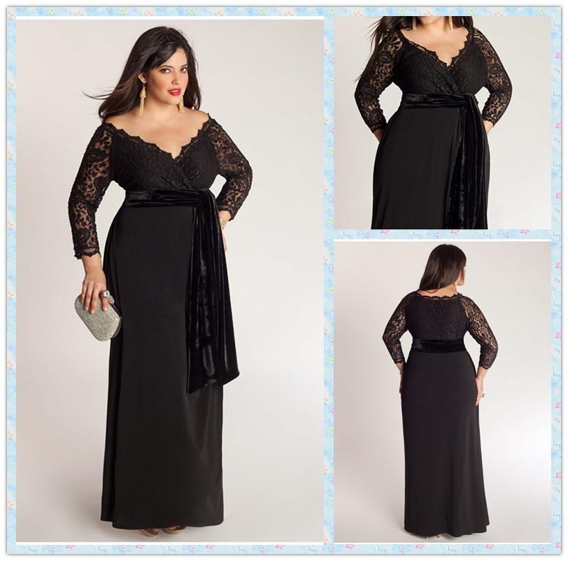 elegant a-line plus size special occasion dresses lace top sash