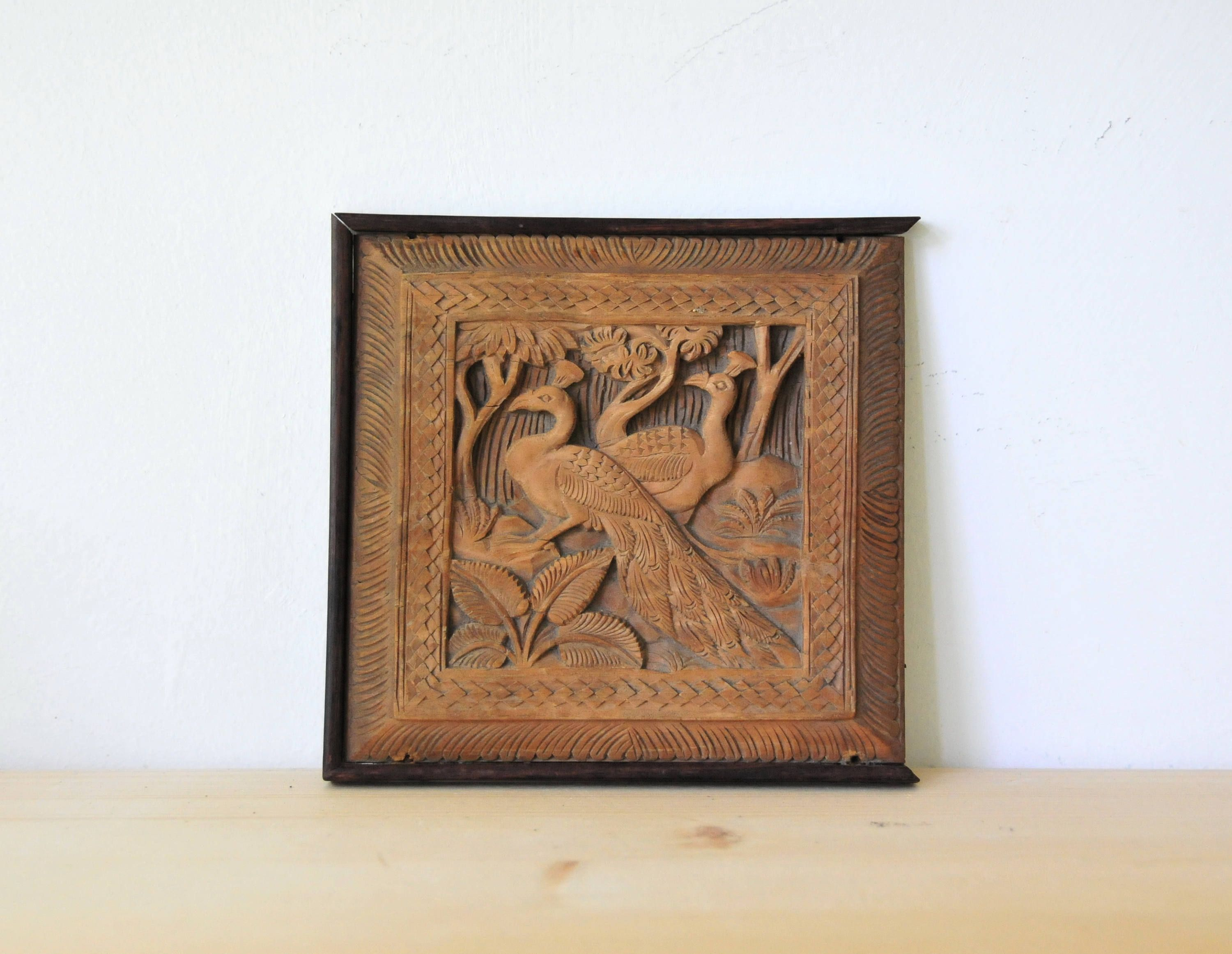 Vintage Hand Carved Wood Panel Indian Wood Wall Panel Wood Peacock